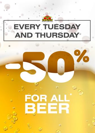 -50% on all beer